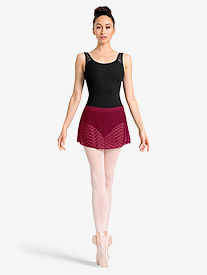 Womens Sheer Wave Mesh Ballet Skirt