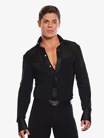 Mens Collared Stripe Insert Ballroom Dance Bodysuit