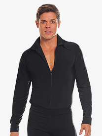 Mens Full Zipper Long Sleeve Ballroom Dance Top