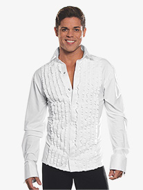 Mens Ruffled Long Sleeve Ballroom Top