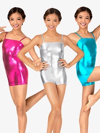 Child Metallic Camisole Shorty Unitard