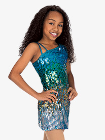 Child Sequin One Shoulder Dress