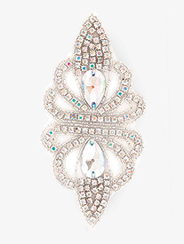 Iron On Iridescent Rhinestone Applique