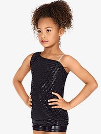 Child Asymmetrical Sequin Dot Tank Top