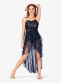 Adult High-Low Glitter Mesh Camisole Lyrical Dress