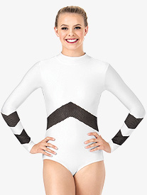 Womens Mesh Long Sleeve Leotard