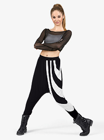 Adult Rayon White Stripe Harem Pants