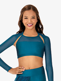 Child Emballe Mesh Long Sleeve Crop Top