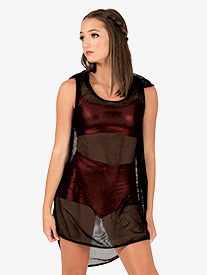 Womens Mesh Hooded Dance Tank Dress