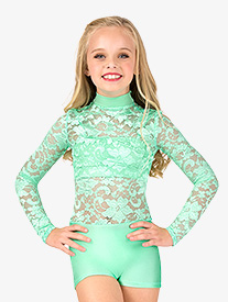 Child Emballe Lace Long Sleeve Shorty Unitard