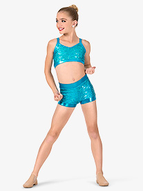 Girls Sequin Banded Dance Shorts