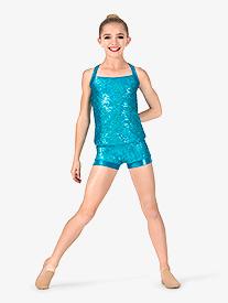 Girls Sequin Crisscross Back Performance Tank Top