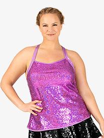 Womens Plus Size Sequin Crisscross Back Performance Tank Top