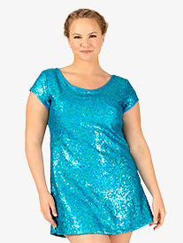 Womens Plus Size Sequin Cap Sleeve Performance Dress Set