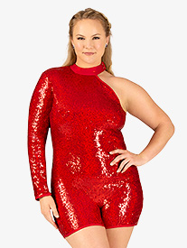 Womens Plus Size Sequin Asymmetrical Performance Shorty Unitard