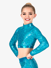 Girls Sequin Long Sleeve Performance Crop Top