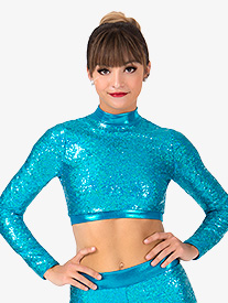 Womens Plus Size Sequin Long Sleeve Performance Crop Top