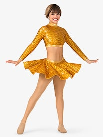 Womens Sequin Skater Performance Skirt