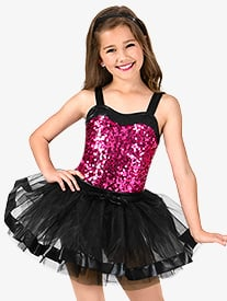 Girls Sequin Two-Toned Tank Performance Tutu Dress