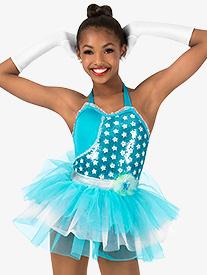 Girls Sequin Two-Toned Halter Performance Tutu Dress