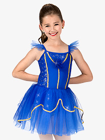 Girls Glitter Mesh Flutter Sleeve Performance Tutu Dress
