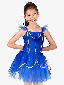 Girls Glitter Mesh Flutter Sleeve Performance Tutu Dress