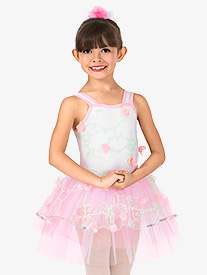 Girls 3-D Floral Tank Performance Tutu Dress