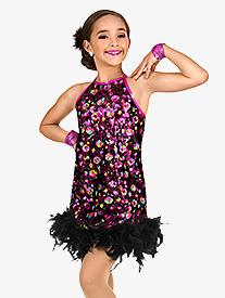 Girls Sequin & Feather Shift Dress Set