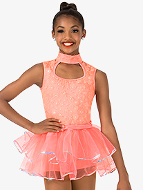 Girls 3-D Floral Tank Performance Tiered Tutu Dress
