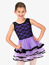 Girls Floral Lace Tank Ballet Tutu Dress