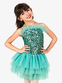 Girls Sequin Camisole Performance Tutu Dress