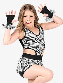 Girls Zebra Print Tank Performance Shorty Unitard