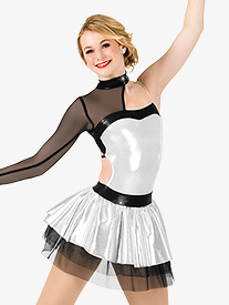 Womens Metallic Asymmetrical Performance Tutu Dress