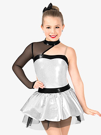 Girls Metallic Asymmetrical Performance Tutu Dress