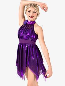 Womens Metallic High Neck Handkerchief Performance Dress