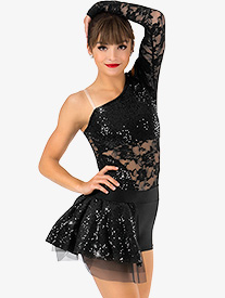 Womens Lace Asymmetrical Bustled Performance Shorty Unitard
