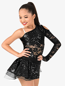 Girls Lace Asymmetrical Bustled Performance Shorty Unitard