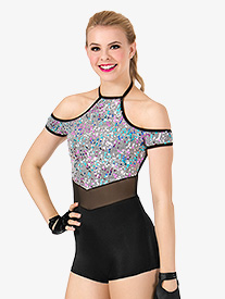 Womens Sequin Halter Performance Shorty Unitard