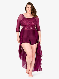Womens Plus Size Sequin Bustled Performance Shorty Unitard