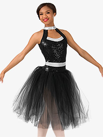 Womens Sequin Romantic Tutu Performance Dress