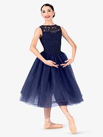 Womens Plus Size Lace Overlay Ballet Tutu Dress