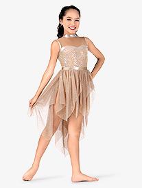 Girls Mesh Handkerchief Tank Performance Dress