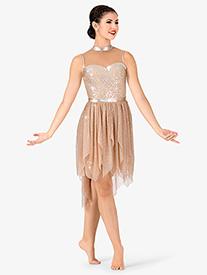 Womens Plus Size Mesh Handkerchief Tank Performance Dress