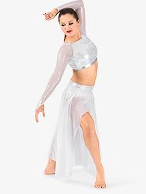 Womens Glitter Mesh Long Sleeve 2-Piece Performance Set