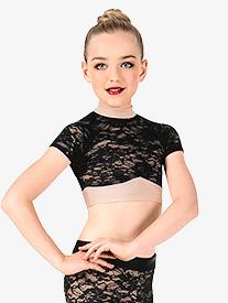Girls Lace Short Sleeve Dance Crop Top