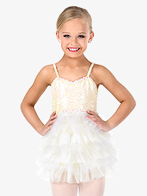 Girls Glitter Mesh Camisole Performance Tutu Dress