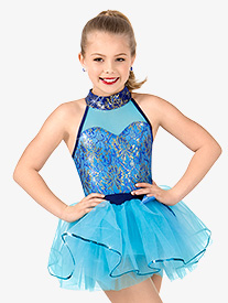 Girls Metallic Lace Halter Performance Tutu Dress