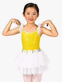 Girls Flutter Sleeve Sequin Tutu Dress Set