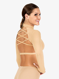 Womens Strappy Back Long Sleeve Dance Crop Top