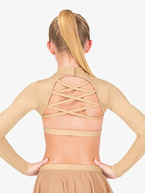 Girls Strappy Back Long Sleeve Dance Crop Top